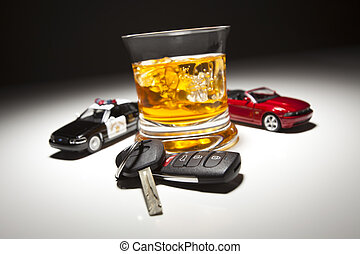 Highway Patrol Police and Sports Car Next to Alcoholic Drink and Keys Under Spot Light.