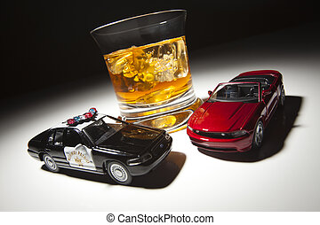 Police and Sports Car Next to Alcoholic Drink Under Spot...