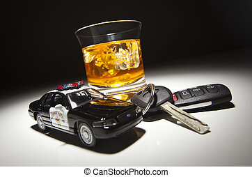 Highway Patrol Police Car Next to Alcoholic Drink and Keys...