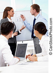 Explanation - Photo of successful business partners looking...