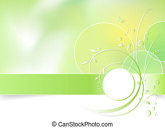 Green spring flower background - Green floral background,...