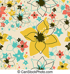 Vector Seamless floral pattern with orchid flower From my...