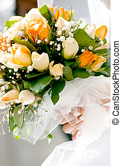 Wedding bouquet - Wedding bouqet from white and orange roses...