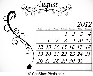 2012 Calendar Set 2 Decorative Flourish August