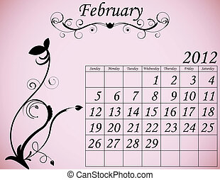 2012 Calendar Set 2 Decorative Flourish February