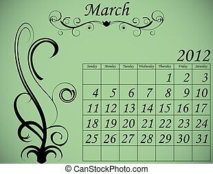 2012 Calendar Set 2 Decorative Flourish March