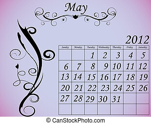 2012 Calendar Set 2 Decorative Flourish May