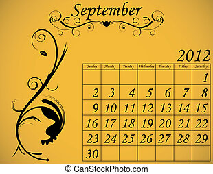 2012 Calendar Set 2 Decorative Flourish September
