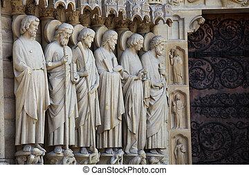 Notre Dame in Paris - Entrance portal at Notre Dame...