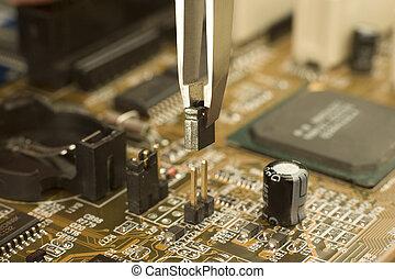 contactos, tablero sistema, Fórceps, poniendo, eléctrico,...