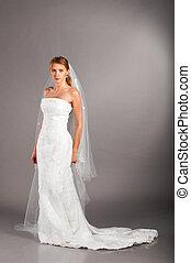bride in wedding dress - beautiful bride is standing in...