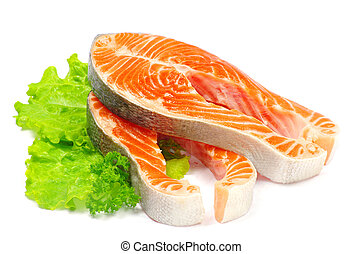 salmon and lettuce isolated on white background