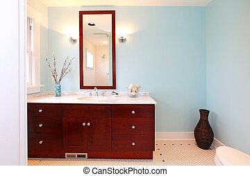 Modern blue fresh new bathroom - New beautiful bathroom in a...