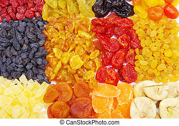 assortment dried fruits close up