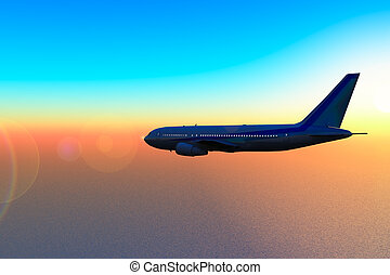 Aircraft in fly to sunset - Aircraft in fly over sea to...