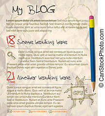 Blog web site template - with crumpled paper as a background