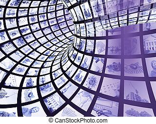 3d abstract tunnel - Internet concept - 3d abstract blue...