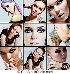 Glamorous female - Collage of gorgeous woman looking at...