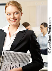 Pretty employer - Portrait of with smart employer looking at...