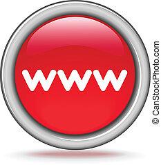 """round red button """"WWW"""""""