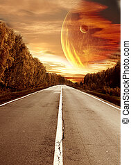 Road to surreal sunset