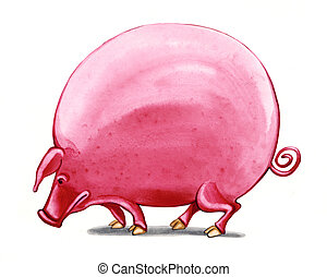 fat big pig - humorous illustration of fat big pig