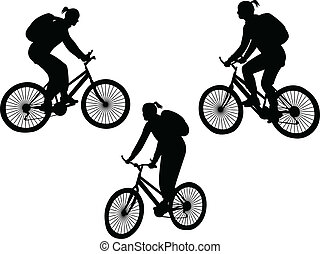 girl riding bicycle - vector