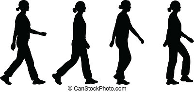 girl walking - vector