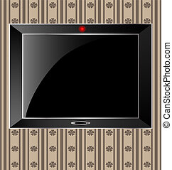 TV - against the background of an abstract pattern big black...
