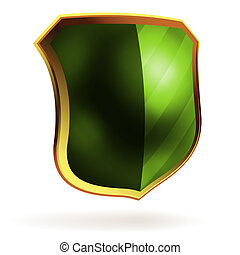 Shields in black and green hazard stripes. EPS 8