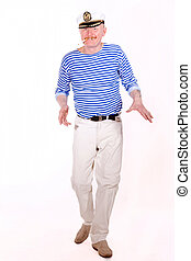 Middle aged male adult posing as ship captain - Studio...
