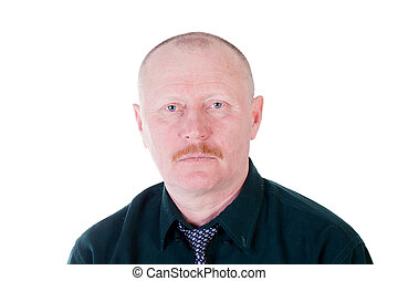 Portrait of male adult with short haircut and red mustache -...