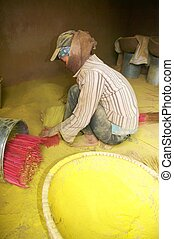 Woman of the incense stick factory - Woman working in the...