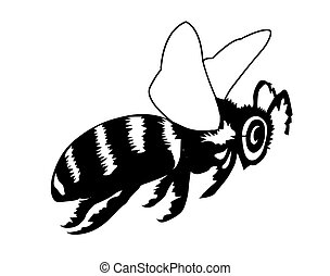 vector silhouette of the bee on white background