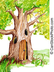 Fairytale Tree  - Fairytale Illustration of Magical Tree