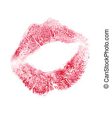 Print of lips in the form of heart