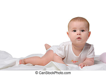 The baby on a bedsheet