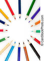 Circle from color pencils It is isolated on a white...