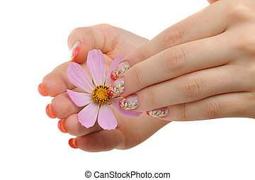 Nail art and flower