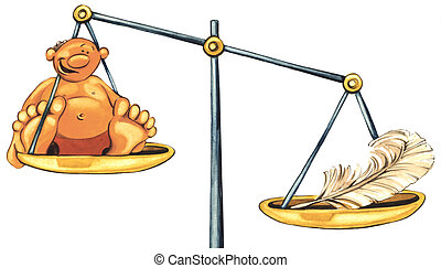 overweight man and feather on balance - illustration of...