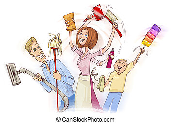 Family doing spring cleaning - illustration of family doing...