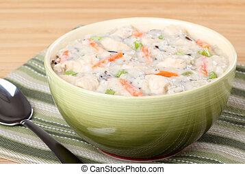Creamy Chicken Soup - Bowl of creamy chicken and vegetable...