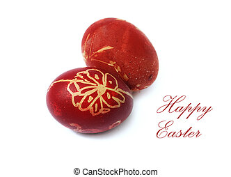 Easter eggs - Decorative red easter eggs isolated over white