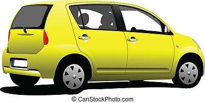 Purple colored car sedan on the road. Vector illustration