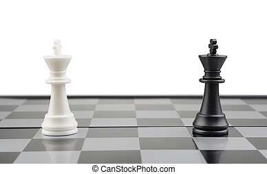 Opposition Chessmen of competing kings, conceptual concept...