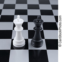 Opposition. Chessmen of competing kings, conceptual concept...