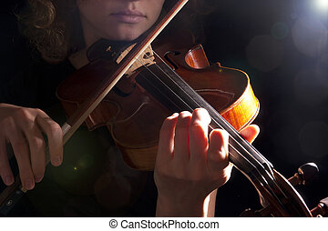 woman violin play young beautiful musical female