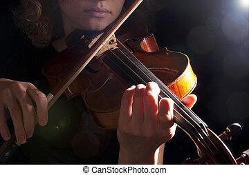 mujer, violín, juego, joven, hermoso