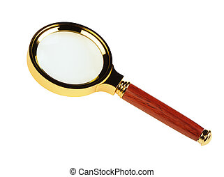 Magnifier. A gold frame, the wooden handle it is isolated on...