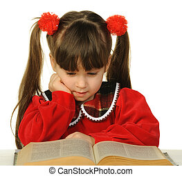 The little girl before the big scientific book It is...